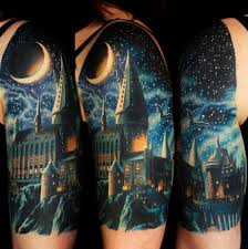 castle moon sky http tattootodesign com