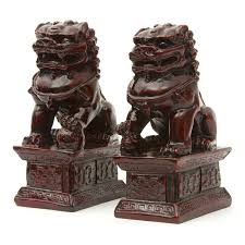 shop oriental furniture set of 2 resin fu dog statues at lowes com