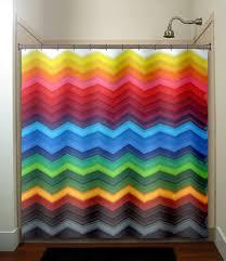 Fabric Shower Curtains With Valance Rainbow Chevron Shower Curtain Bathroom Decor Fabric Kids Bath