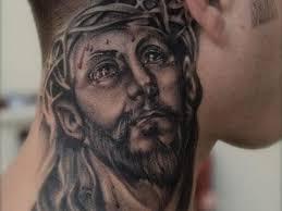 grey jesus on side neck