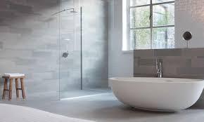Light Grey Tiles Bathroom Impressive Light Grey Wall Tiles With Bowl Tub For Modern Bathroom