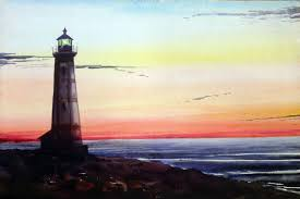 light house at night saatchi art lighthouse at night watercolor on paper painting by