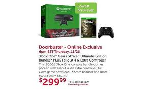 xbox one 500gb gears of war ultimate edition console bundle for xbox one with fallout 4 gears of war extra controller for 300