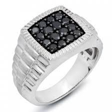 mens 14k white gold wedding bands men s 1 ct t w black diamond cluster 14k white gold ring