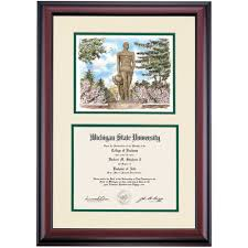 michigan state diploma frame michigan state premier the spartan watercolor diploma frame