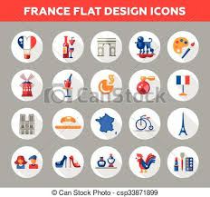 travel icons images France travel icons and elements with famous french symbols eps jpg