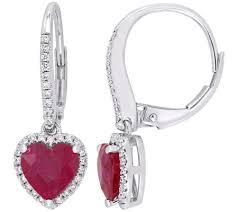 leverback earrings 14k gold 2 10 cttw heart ruby diamond leverback earrings qvc