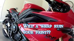 does a motorcycle vinyl wrap ruin your paint youtube