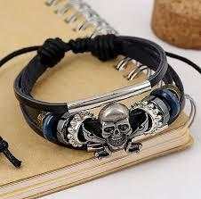 free size bracelet images Vintage style black leather skull crossed swords bracelet free jpg