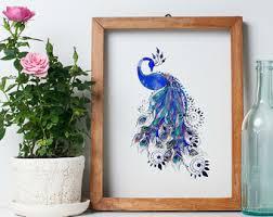 peacock wall art etsy