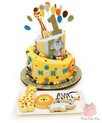 zoo themed birthday cake safari first birthday cake and cookies celebration cakes