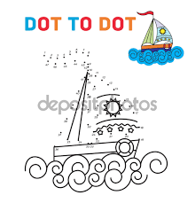 coloring book dot to dot the boat for teaching young children
