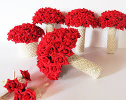 Red Wedding Bouquets Wedding Bouquet Set Etsy