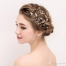 bridal hair clip new gold leaf handmade alloy bridal hair band headband pearls