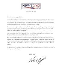 gingrich sends unusual holiday greeting to former campaign staff