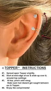 top earings cz topper sterling top cartilage non pierced ear cuff earrings