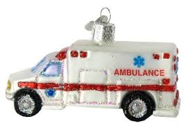 world ambulance glass blown ornament