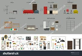 furniture interior elements vector icons set stock vector