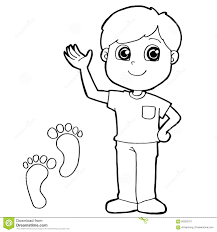kid with paw print coloring page vector stock vector image 60292761