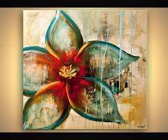 prints painting raw abstract flower painting blue rust acrylic