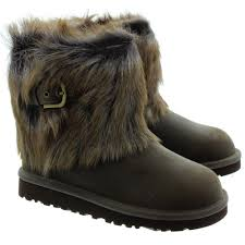 womens ugg australia ellee boots ugg ellee leather fur ankle boots in chocolate in chocolate