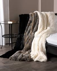 Faux Fur Bed Throw Knit Rex Rabbit Fur Throw In Natural Fursource Com