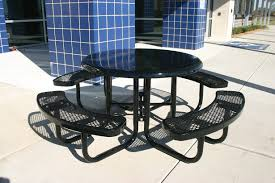 Expanded Metal Patio Furniture - rhino round solid top thermoplastic steel picnic table quick