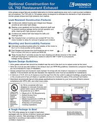 greenheck fan ul 762 user manual 1 page