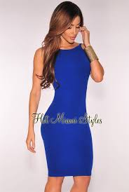 royal blue knit ribbed low open back dress