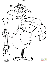 happy turkey with pilgrim hat and musket coloring page free