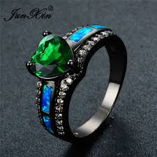 aliexpress buy junxin new arrival black junxin new stylish blue opal ring black gold filled white