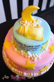 baby shower cake boy blue pink fondant figurines moon stars