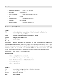 java resume resume with 7 months internship experiance in java
