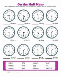 best solutions of telling time to the half hour worksheets in