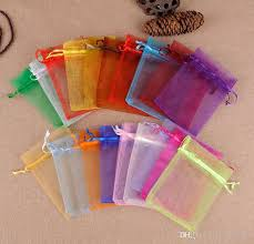 Wholesale Christmas Gift Wrap - wholesale multicolor organza drawstring pouches jewelry party