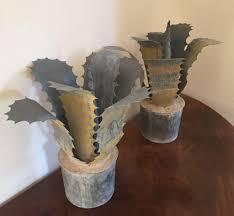 deco en zinc pair garden ornaments french zinc sculptures of faux agave plants