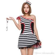 Halloween Inmate Costume Black White Striped Prisoner Costume Women Halloween Carnival