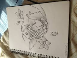 black u0026 grey koi carp fish with cherry blossom u0027s tattoos