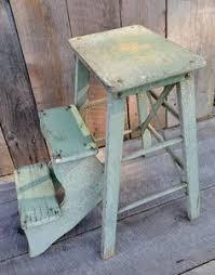 vintage aqua primitive 3 step stool ladder wood old farmhouse