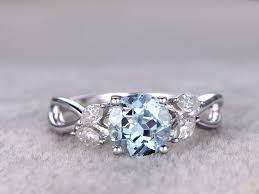 aquamarine diamond ring 1 2 carat white gold aquamarine engagement rings with diamonds