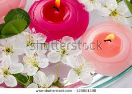 Vases With Flowers And Floating Candles Spring Spa Composition Aromatic Floating Pink Stock Photo 30785698