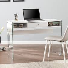 contemporary modern style glass home office glossy white computer