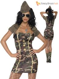 camo army soldier fancy dress costume ladies womens