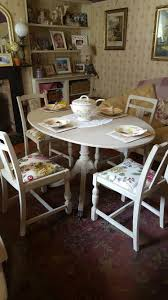 shabby chic dinning table and chairs painted in autentico cafe au