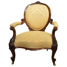 Deep Armchair Beautiful Walnut Victorian Period Deep Buttoned Ladies U0027 Open