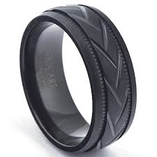 rubber wedding band woven brushed zirconium wedding band black ring