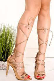 rose gold patent open toe lace up ankle strap high heels women u0027s
