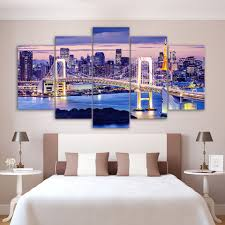 shop online for home decor 5 panel framed hd printed sunset bridge tokyo night wall art