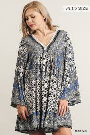 v neck blue mix print peasant dress with bell sleeves by umgee