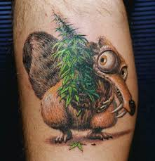 colored 3d squirrel scrat with tree tattoos pm